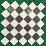 White And Black Marble Mosaic Tiles 10mm Thickness Polished Stone Mosaic