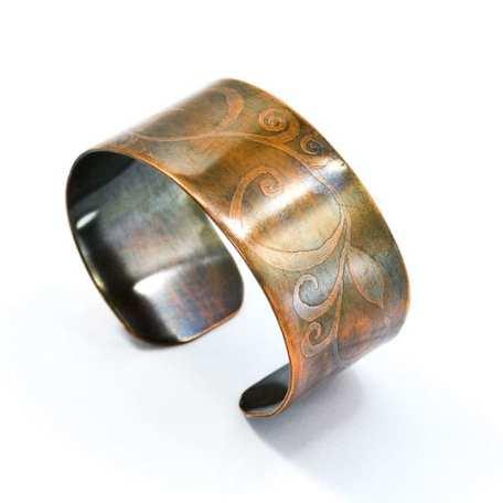 EK01030 Etched Copper Bangle Vine_092718