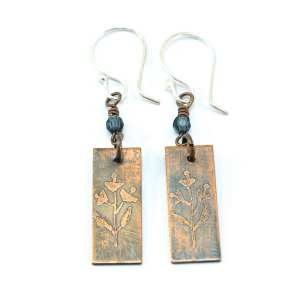 Etched Floral Copper Earrings