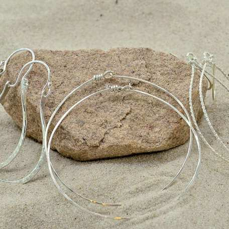 Three Sterling Silver Hoops on Sand_2_101118