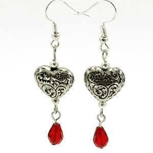 Heart Earrings with Red Crystal
