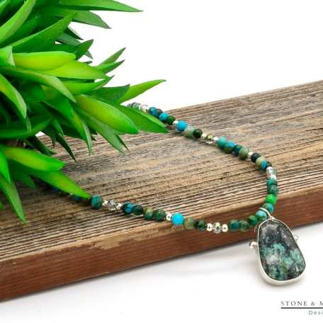 EK01131 African Turquoise Beaded Necklace with Pendant on Board 1_031220