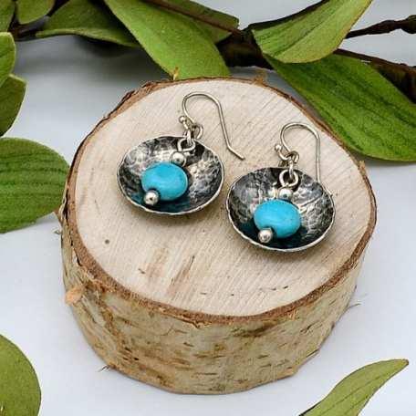 EK01119 SS Domed Turquoise Earring Lifestyle 2