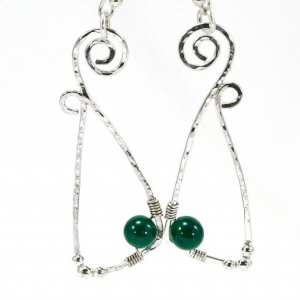Stirling Silver and Dark Green Geometric Spiral Earrings
