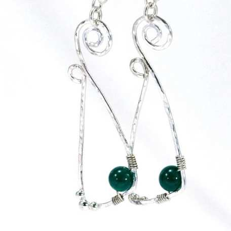EK01054 Stirling Silver and Dark Green Spiral Earrings_2_050420