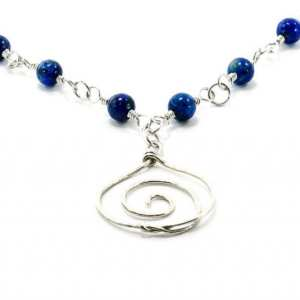 Sterling Silver Spiral Pendant with Blue Lapis Beads