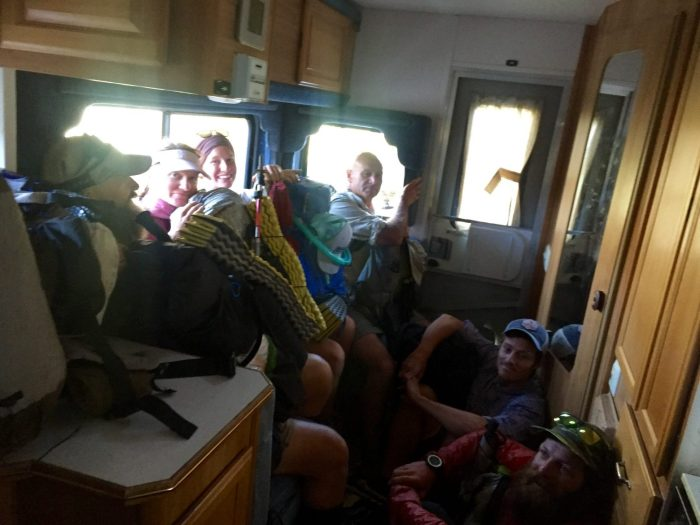 A load of PCT hikers getting a hitch in an RV