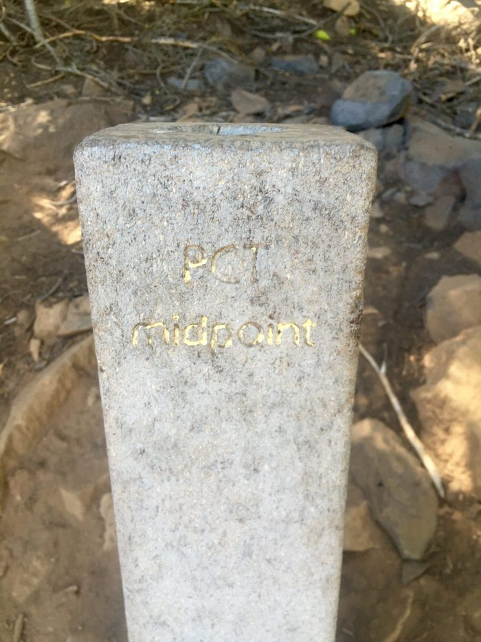 Stone post marking the PCT halfway point