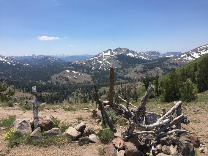 Snow fields on distant peaks