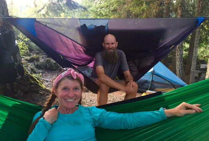 Beardoh and Sweet Pea sitting in their hammocks
