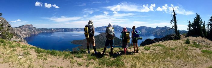 Beardoh Mountain Man Sweet Pea and Gazelle gazing out over Crater Lake