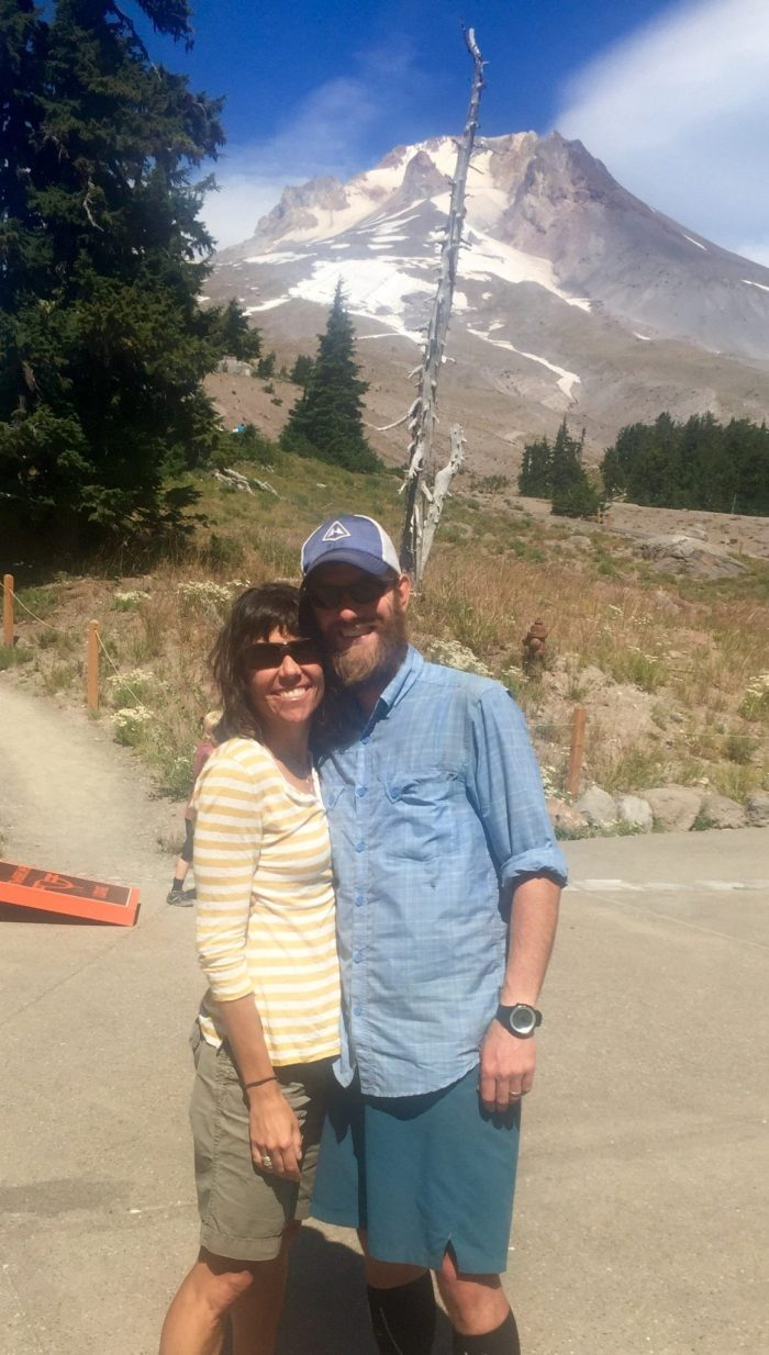 Mountain Man and Ace outside Timberline Lodge