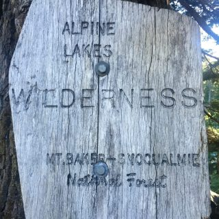 Sign marking boundary of Alpine Lakes Wilderness