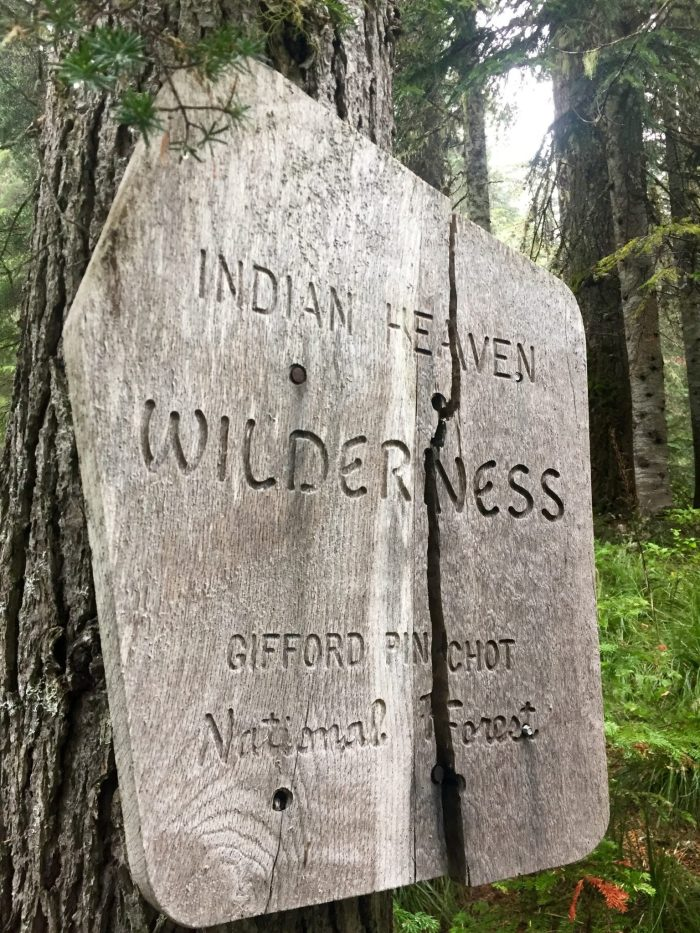 Sign marking the boundary of Indian Heaven Wilderness