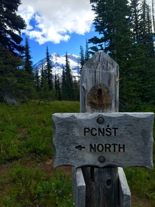 PCT sign with Mount Adams immediately behind
