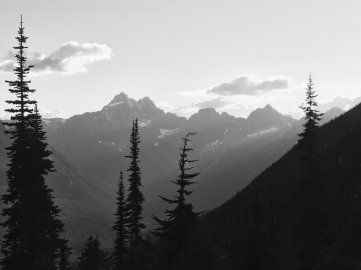 Black and white view of jagged North Cascades