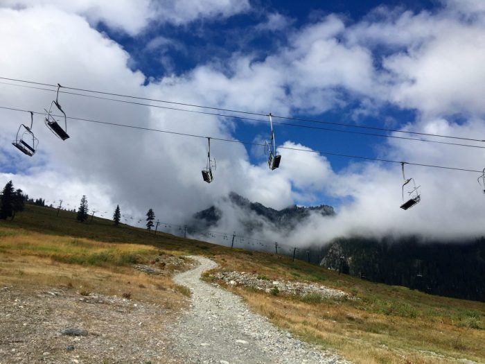 PCT crossing under chairlifts at Snoqualmie Pass ski area