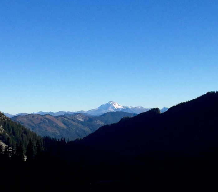 Morning view of Glacier Peak on the Pacific Crest Trail