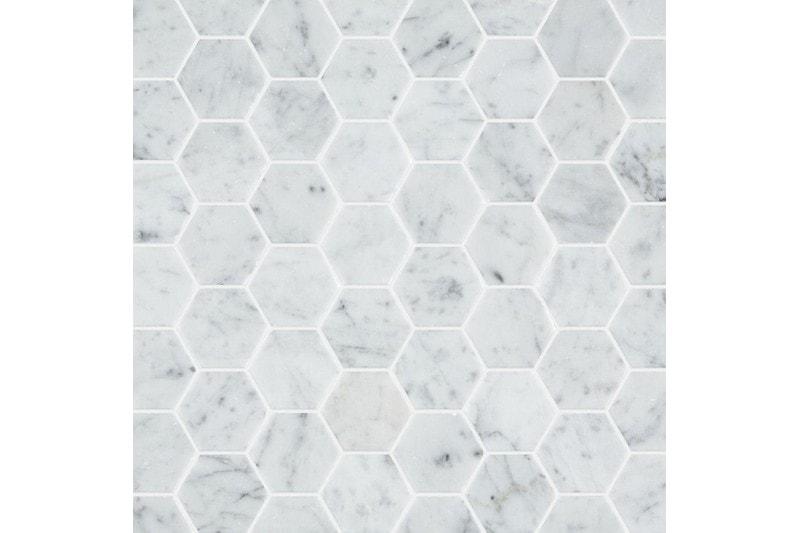 carrara honed marble hexagon mosaic