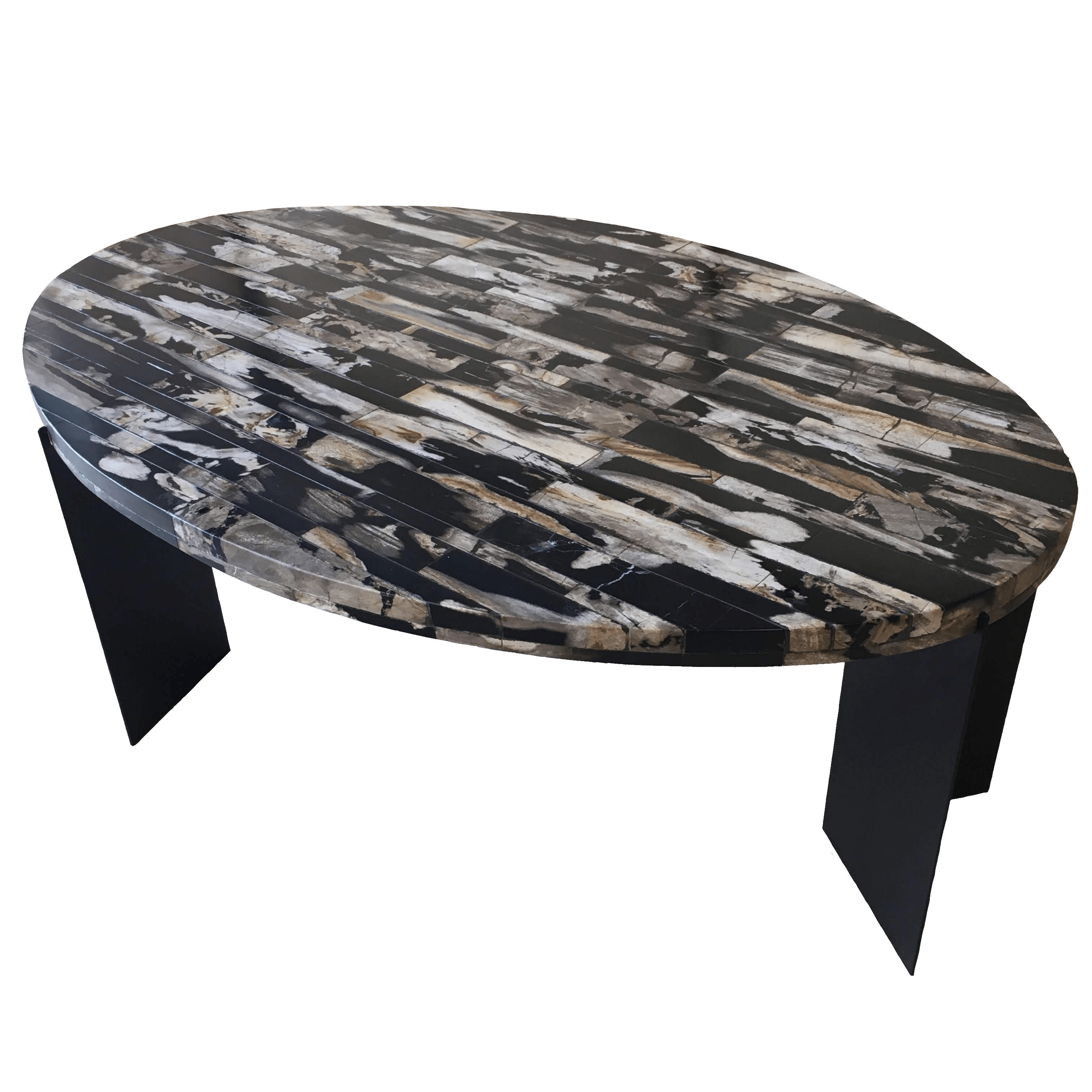 Petrified wood mosaic surface on coffee table legs