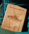Brook Trout Fly Box Back with Inscription - Cherry Wood