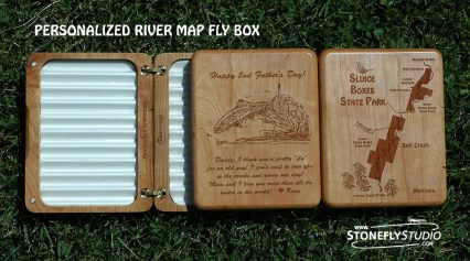 Personalized River Map Fly Box