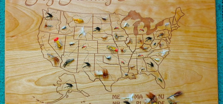 """U.S. Fly Fishing Goal Marker.  Display Which States You've Caught a Fish on a Fly with Our New """"Fly Fishing Adventures Plaque."""