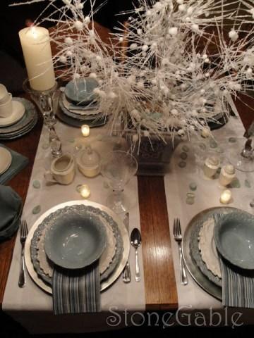 Aqua And White Tablescape