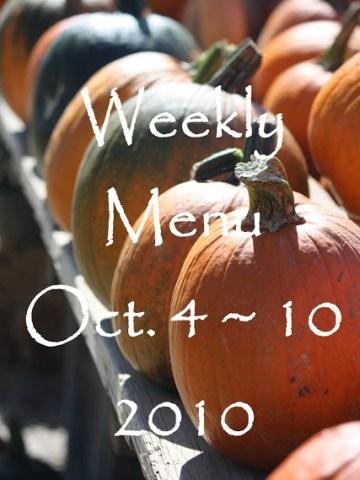 Weekly Menu October 4~ 10, 2010 And Giveaway Winner