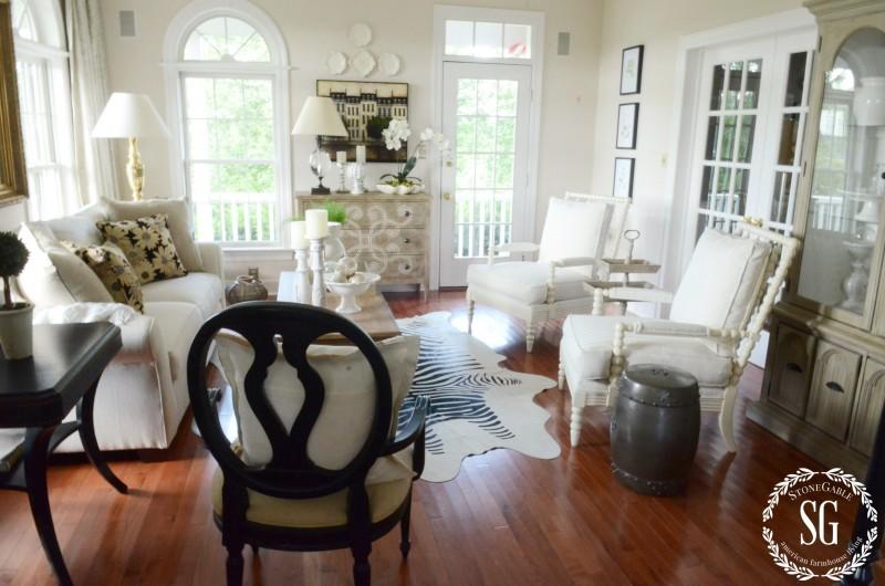 WHITE DISHES-in the living room-stonegableblog.com