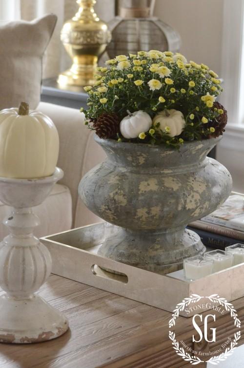 FALL HOME TOUR-urn with mums-pumpkins and pinecones-stonegableblog.com