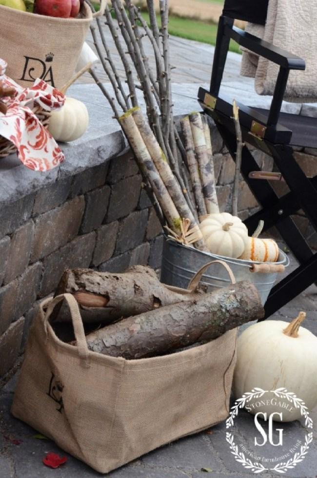 S'more Bar By The Firepit-firewood-pumpkins-stonegableblog.com