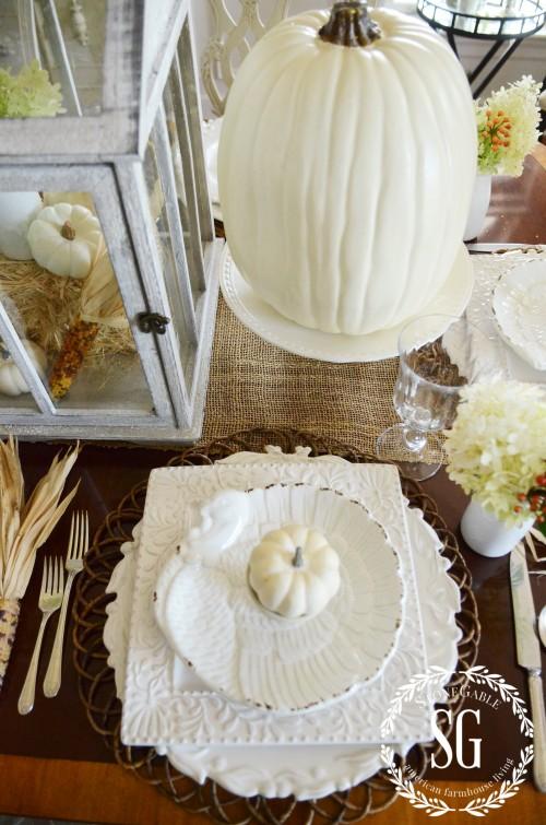 THANKFUL FOR HOME-Large white pumpkin-turkey plate-stonegableblog.com