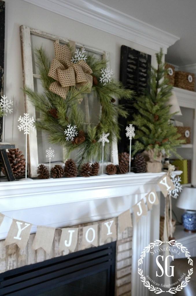 CHRISTMAS FARMHOUSE MANTEL-snowflakes-pinecones-stonegableblog.com