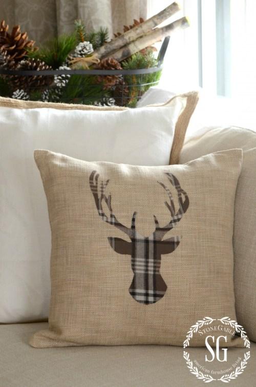 HOW TO ADD SEASONAL DECOR TO YOUR HOME-reindeer pillow-stonegableblog.com