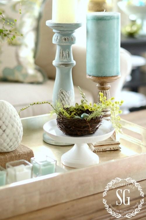 SPRING COFFEE TABLE VIGNETTE- aqua candlesticks-stonegableblog.com