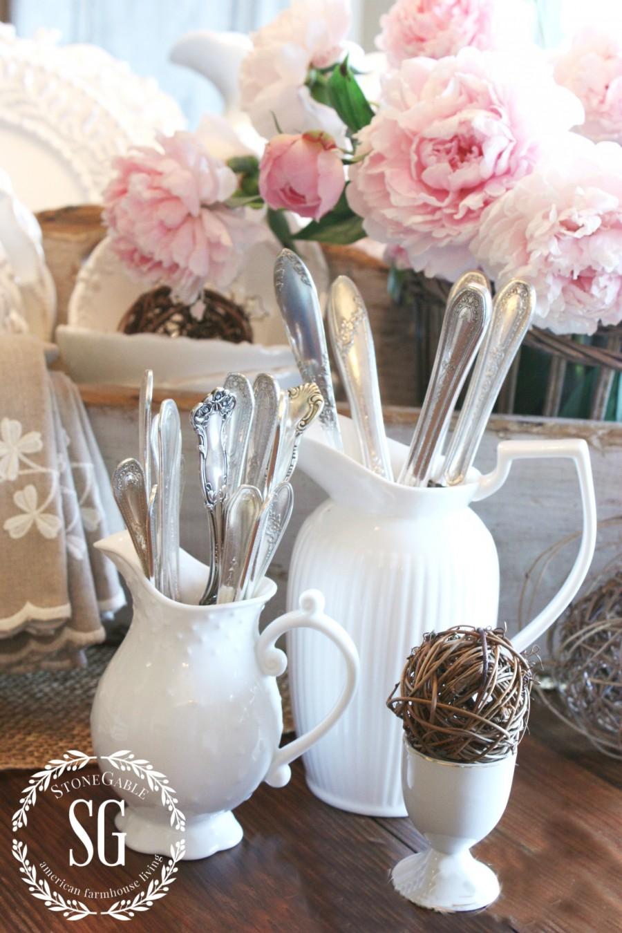 FARMHOUSE STYLE WHITE PITCHERS - StoneGable on Farmhouse:4Leikoxevec= Rustic Kitchen Ideas  id=54226