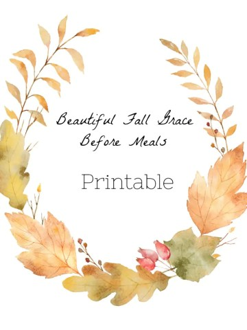 BEAUTIFUL FALL GRACE BEFORE MEALS PRINTABLE
