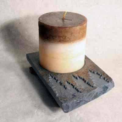 Natural Slate Stone Coaster Candle Plate - Pinetrees Design