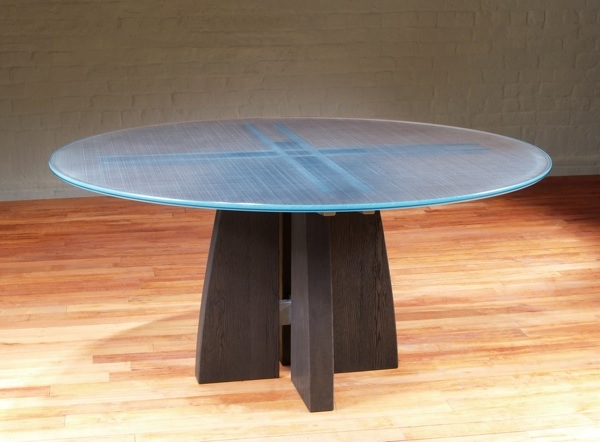 Round Glass Top Dining Table Contemporary Pedestal