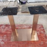 90cm Square Rain Forest Green Brown Marble Dining Table Double Base