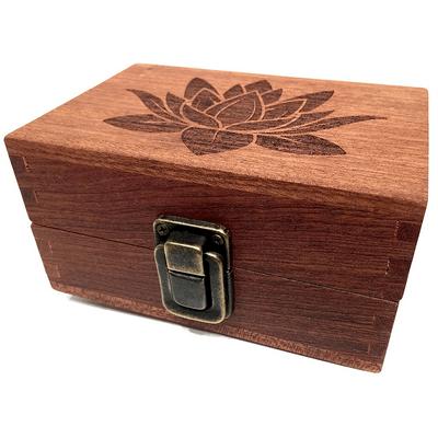 Lotus Engraved Wooden Stash Box