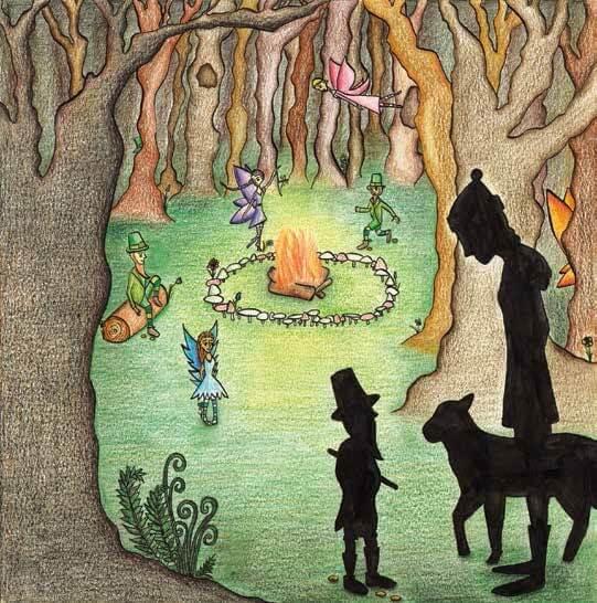 Leprechaun Rain gathering in the woods