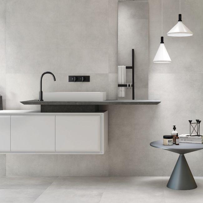 lavo silver concrete effect porcelain tiles