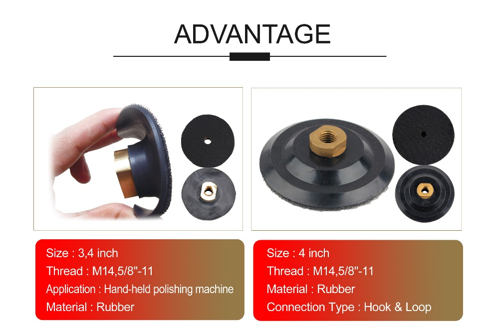 4 Inch Rubber Super Flexible Backer Pad For Diamond Polishing Pad/Disc 100 mm Hook And Loop Back Up Pad