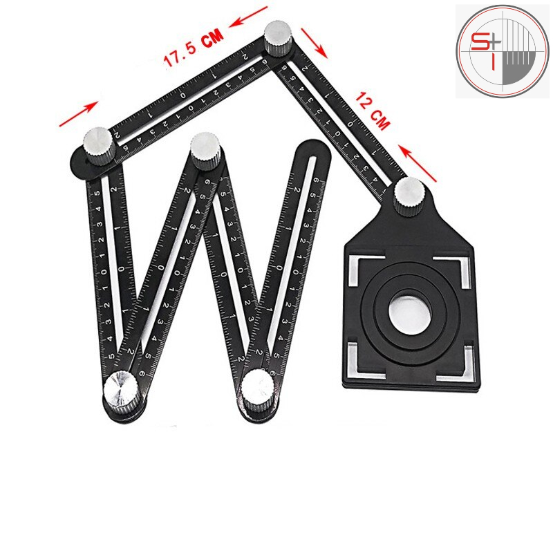 Aluminum Folding Positioning Six-Fold Open Rulers Locator With Metal Screws For Wood Tile Multi Angle Ruler Measuring Tool