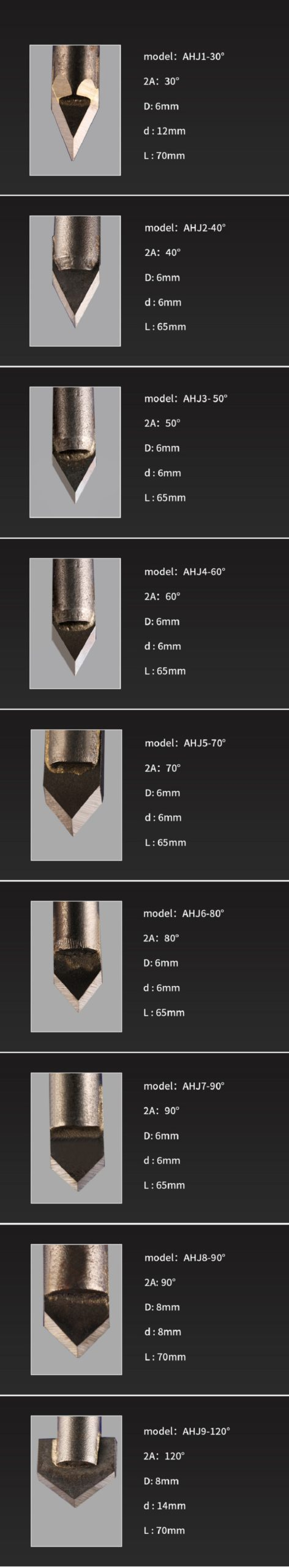 Carbide alloy stone engraving CNC Bits   Engraving cutter   Router Bits   Stone Carving Tools   6mm shank