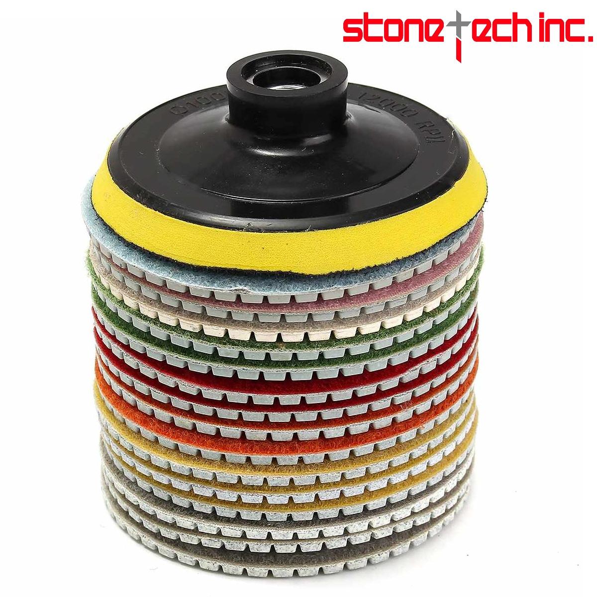 16pcs Diamond Polishing Pads Kit 4 inch 100mm Wet/Dry for Granite Stone Concrete Marble Polishing Use Grinding Discs Set