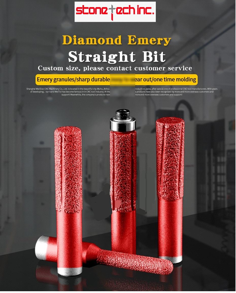 Diamond emery straight bit vacuum brazed profile router bit flush trim bit CNC milling cutter for stone - 1/2 inch