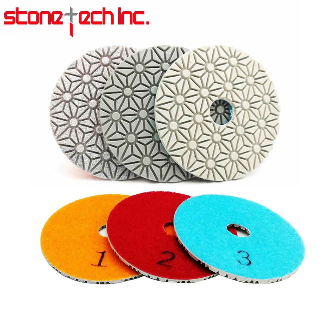 "Diamond Polishing Pads Flexible Resin Bond Sanding Discs Marble Stone Polisher Disc | 2sets/6pcs Dia 100mm/4"" 3 Steps"